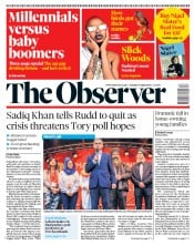 The Observer (UK) Newspaper Front Page for 29 April 2018