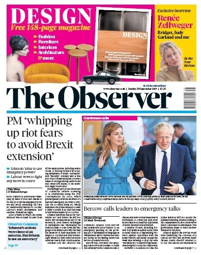 The Observer Newspaper Front Page (UK) for 29 September 2019