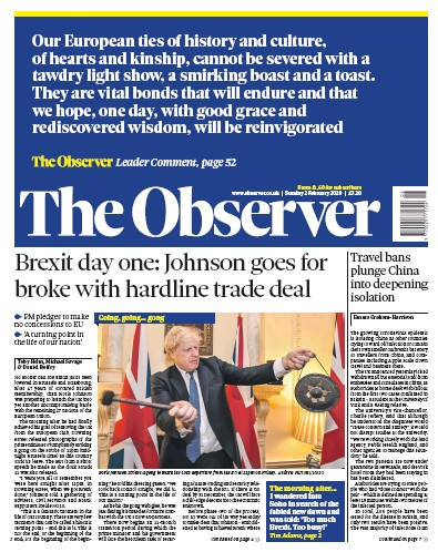 The Observer Newspaper Front Page (UK) for 2 February 2020