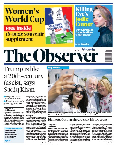 The Observer Newspaper Front Page (UK) for 2 June 2019