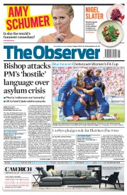 The Observer (UK) Newspaper Front Page for 2 August 2015