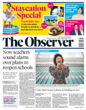 The Observer front page for 2 August 2020