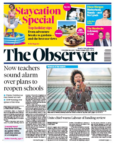 The Observer Newspaper Front Page (UK) for 2 August 2020