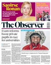 The Observer (UK) Newspaper Front Page for 30 December 2018