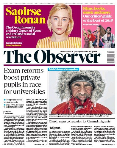 The Observer Newspaper Front Page (UK) for 30 December 2018