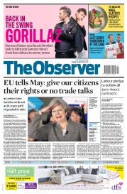 The Observer (UK) Newspaper Front Page for 30 April 2017
