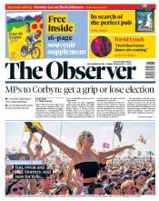 The Observer (UK) Newspaper Front Page for 30 June 2019