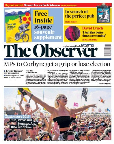 The Observer Newspaper Front Page (UK) for 30 June 2019