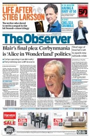 The Observer (UK) Newspaper Front Page for 30 August 2015