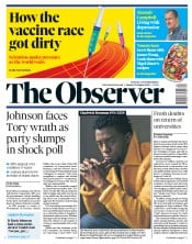 The Observer front page for 30 August 2020
