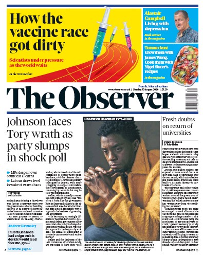 The Observer Newspaper Front Page (UK) for 30 August 2020