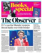The Observer front page for 31 January 2021