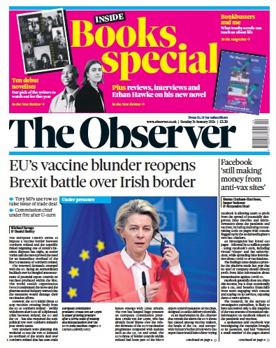 The Observer Newspaper Front Page (UK) for 31 January 2021
