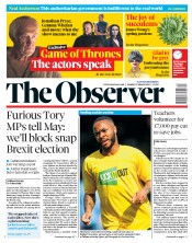 The Observer (UK) Newspaper Front Page for 31 March 2019