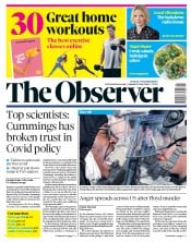 The Observer front page for 31 May 2020