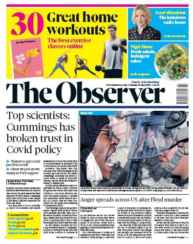 The Observer Newspaper Front Page (UK) for 31 May 2020