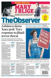 The Observer (UK) Newspaper Front Page for 31 August 2014