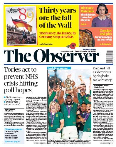 The Observer Newspaper Front Page (UK) for 3 November 2019