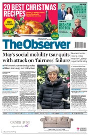 The Observer (UK) Newspaper Front Page for 3 December 2017