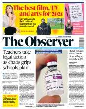 The Observer front page for 3 January 2021