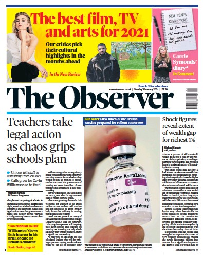 The Observer Newspaper Front Page (UK) for 3 January 2021