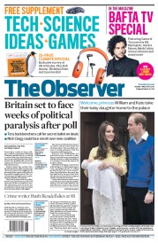 The Observer (UK) Newspaper Front Page for 3 May 2015