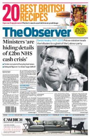 The Observer (UK) Newspaper Front Page for 4 October 2015