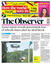 The Observer (UK) Newspaper Front Page for 4 August 2019