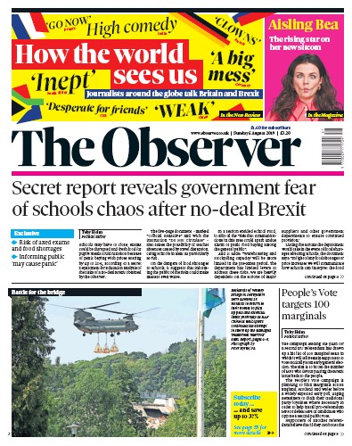 The Observer Newspaper Front Page (UK) for 4 August 2019