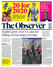 The Observer () Newspaper Front Page for 5 January 2020