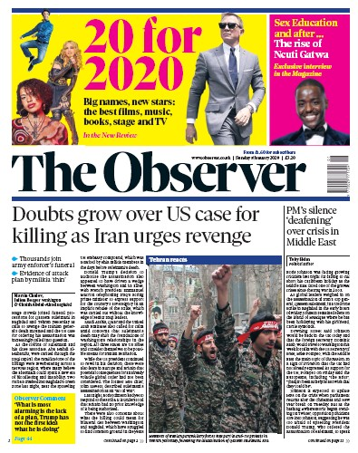 The Observer Newspaper Front Page (UK) for 5 January 2020