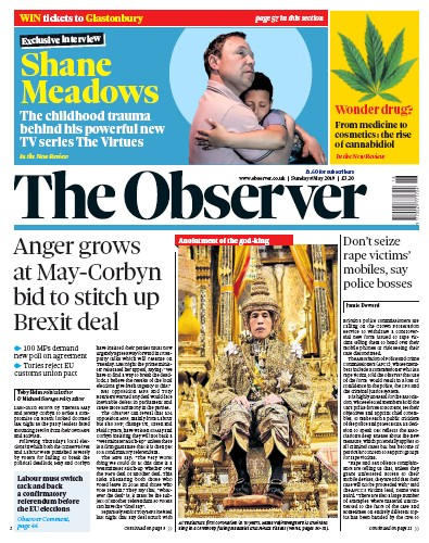 The Observer Newspaper Front Page (UK) for 5 May 2019