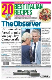 The Observer (UK) Newspaper Front Page for 5 July 2015