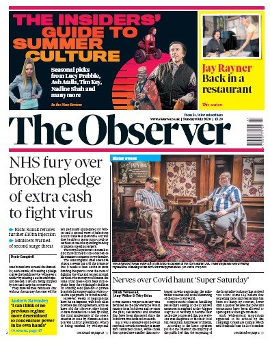 The Observer Newspaper Front Page (UK) for 5 July 2020