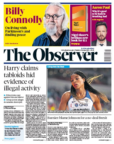 The Observer Newspaper Front Page (UK) for 6 October 2019