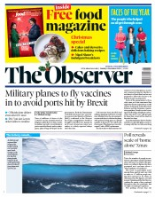 The Observer front page for 6 December 2020