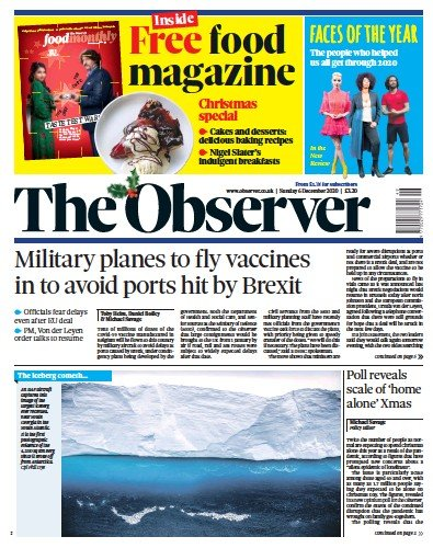 The Observer Newspaper Front Page (UK) for 6 December 2020