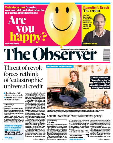 The Observer Newspaper Front Page (UK) for 6 January 2019
