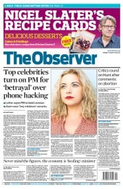The Observer () Newspaper Front Page for 7 October 2012
