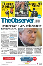 The Observer (UK) Newspaper Front Page for 7 January 2018