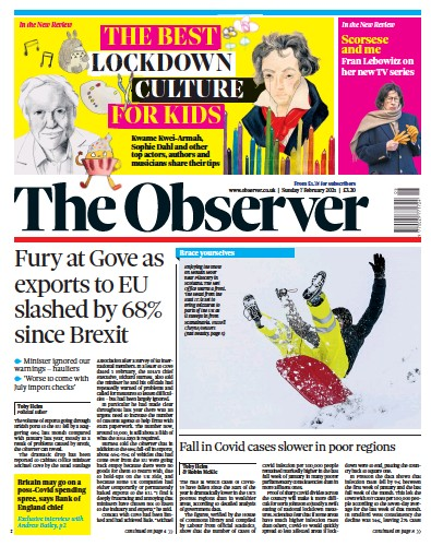 The Observer Newspaper Front Page (UK) for 7 February 2021