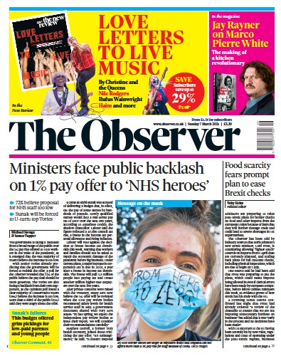 The Observer Newspaper Front Page (UK) for 7 March 2021