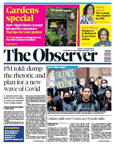 The Observer Newspaper Front Page (UK) for 7 June 2020