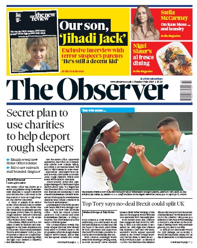 The Observer Newspaper Front Page (UK) for 7 July 2019