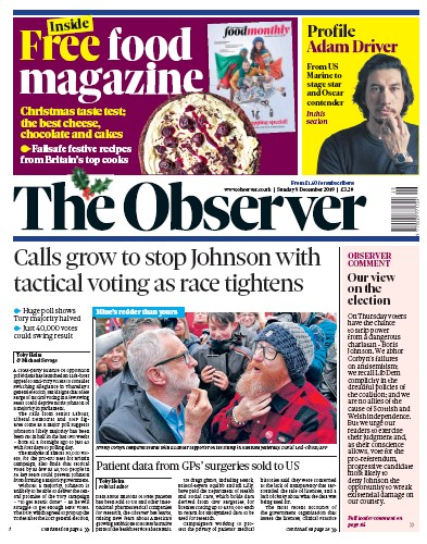 The Observer Newspaper Front Page (UK) for 8 December 2019