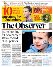 The Observer (UK) Newspaper Front Page for 8 April 2018