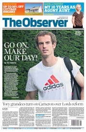 The Observer Newspaper Front Page (UK) for 8 July 2012
