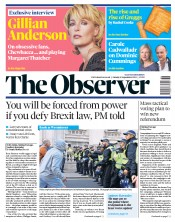The Observer (UK) Newspaper Front Page for 8 September 2019