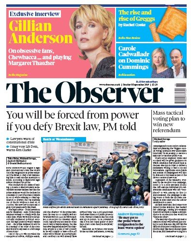 The Observer Newspaper Front Page (UK) for 8 September 2019