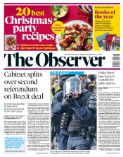 The Observer (UK) Newspaper Front Page for 9 December 2018